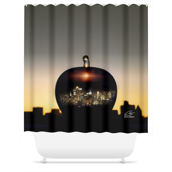 In Love with New York 'Big Apple' Shower Curtain
