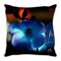 Flowers After Dark 'Blue Freesia' Decorative Pillow