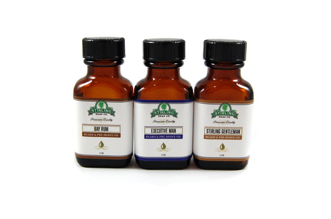 Beard & Pre-Shave Oil Sample Pack of 3 (1oz Bottles)