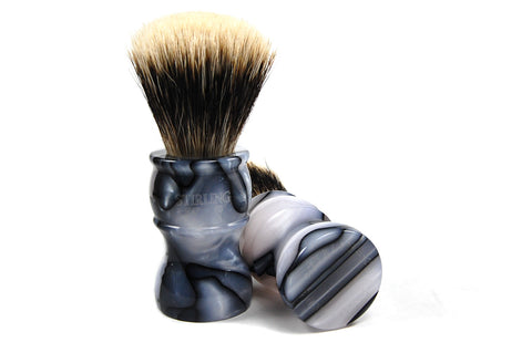 FACTORY SECONDS - Finest Badger Fan Knot Shave Brush (Marble Colored Acrylic Handle - Clear Etching) - 24mm x 51mm