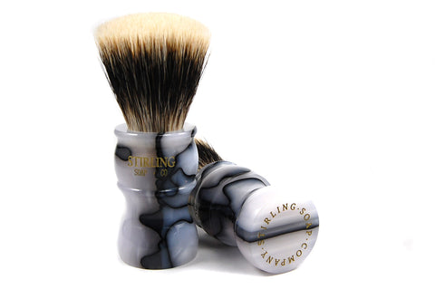 FACTORY SECONDS - Finest Badger Fan Knot Shave Brush (Marble Colored Acrylic Handle - Gold Etching) - 24mm x 51mm