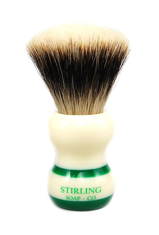 FACTORY SECONDS - Finest Badger Shave Brush - 24mm Fan Knot (Green Striped)