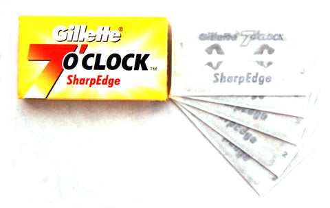 Gillette 7 O'Clock Yellow Razor Blades (1 Pack of 5 Blades)