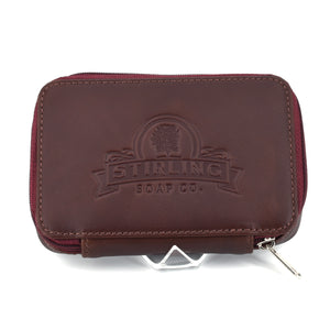 Premium Leather Razor/Blade Case - Burgundy