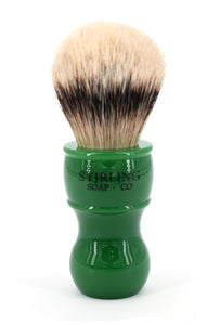 High Mountain White Badger Shave Brush - 24mm x 53mm (Green)
