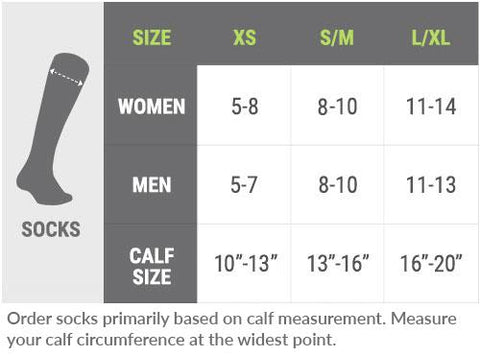 High socks size chart