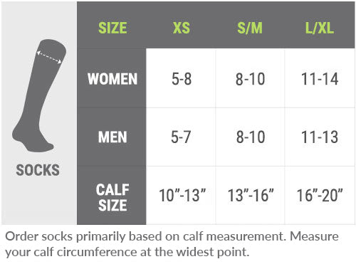 PRO Compression Socks Size Chart