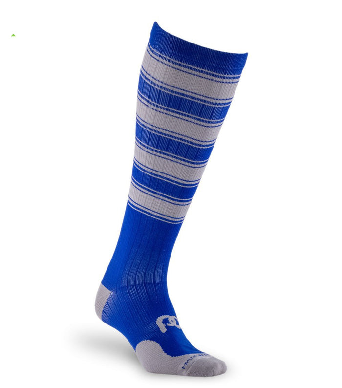 pro Compression Graduated Compression Sock - Marathon, Blue with Grey Stripes