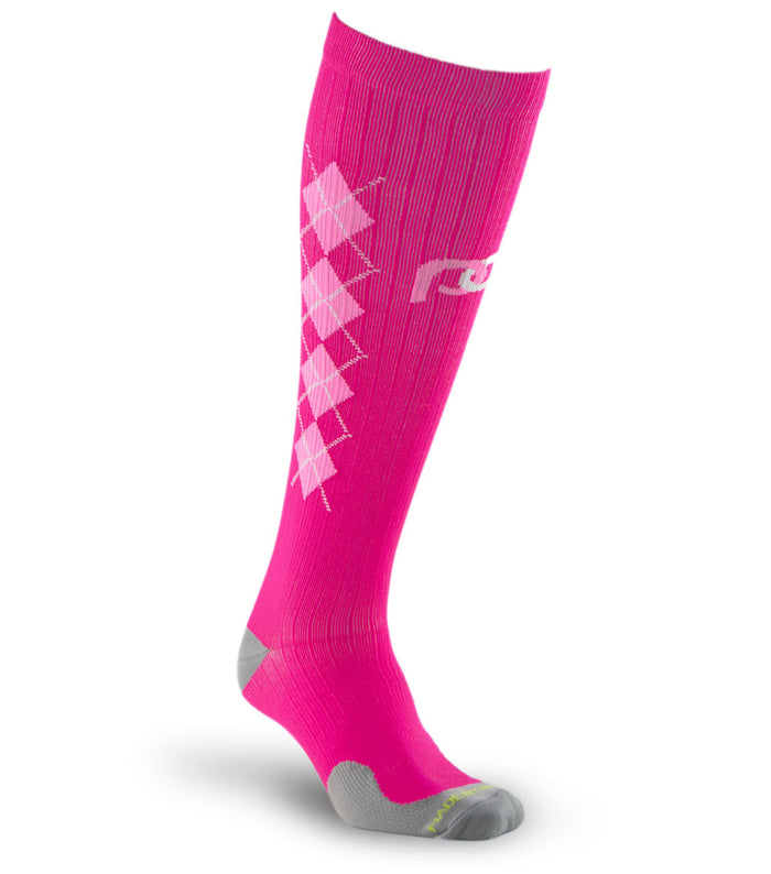 PRO Compression Graduated Compression Sock - Marathon, Pink Argyle