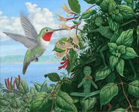 Card, Hummingbird Devas, By Ed Moody