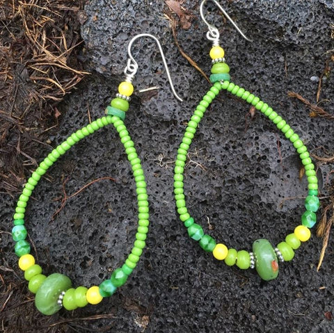 Green Serpentine Sterling Hoops # RM-E5