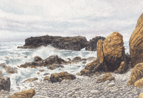 Stony Beach-Giclee on Paper
