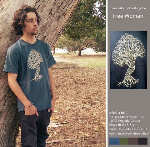 Tree Woman - Slate Blue T-Shirt 100% Organic Cotton