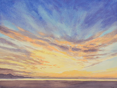 River Beach Sunset-Giclee on Paper
