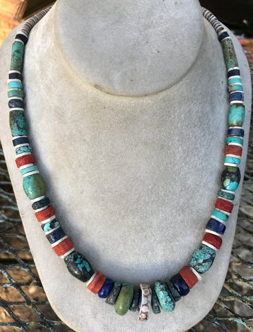 Turquoise, Lapis, Apple Coral necklace