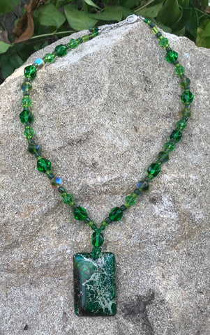 Rectangular green mystery stone necklace
