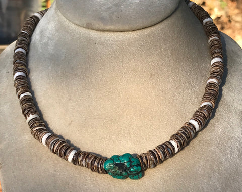 Tibetan Turquoise bead strung with puka shell beads, sterling