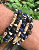 Lapis, sodalite, tourmaline, bamboo leather snap bracelet