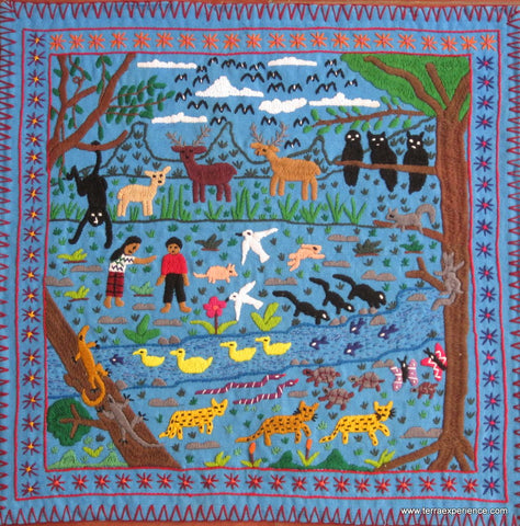 Embroidered Mayan Folk Tapestry  15-04