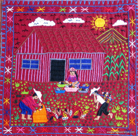 Embroidered Mayan Folk Art Tapestry 15-10