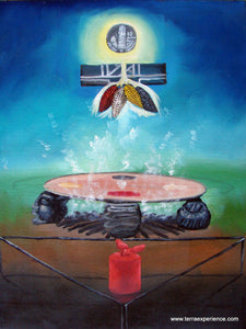 "Aliix Mendoza Large Oil Painting - ""Xkub"" Mayan Kitchen or Comal (P-L-AA-002) 13.5"" x 17.6"""