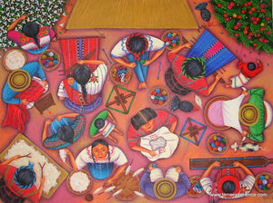 "Angelina Quic Large Oil Painting - Mayan Women Weaving and Preparing Loom Overhead  (P-L-AQ-17D) 30"" x 40"" (LARGE)"