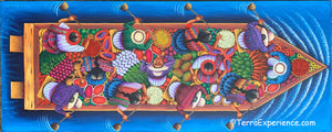 "Angelina Quic Large Oil Painting - Mayans in Canoe going to Market - Overhead or bird-eye View (P-M-AQ-2o) 20"" x 50"""