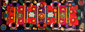 "Angelina Quic Large Oil Painting - Last Supper (El Sagrado Alimento) Overhead  (P-L-AQ-20B) 20"" x 50"" (LARGE)"