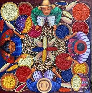 "Angelina Quic Large Oil Painting - Mayan Corn for Tortilla Preparation & Celebration (Molina de Nixtamal)  (P-L-AQ-20C) 20""x 20"" (LARGE)"