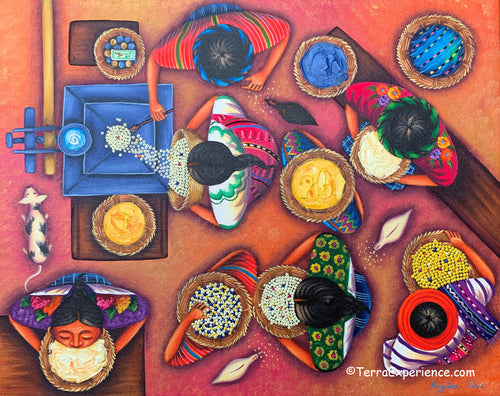 Angelina Quic Large Oil Painting - Mayan Tortilla Preperation  (P-L-AQ-20F) __