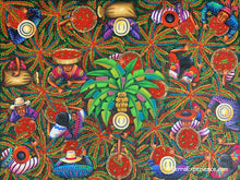 "Angelina Quic Large Oil Painting - Mayan Coffee Harvest Overhead  (P-L-AQ-20H) 30""x 40"" (LARGE)"