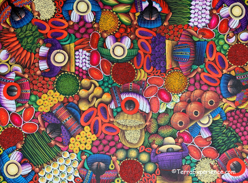 Angelina Quic Large Oil Painting - Mayan Onion Market Overhead  (P-L-AQ-20i) 24