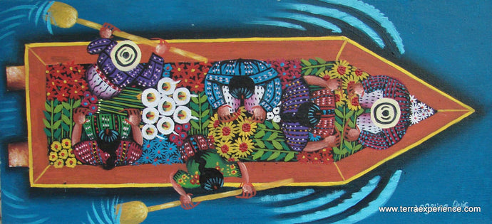 Angelina Quic Large Oil Painting - Mayans in Canoe going to Market - Overhead or bird-eye View (P-M-AQ-17L) 7
