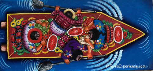 Angelina Quic Oil Painting - Mayans in Canoe going to Market - Overhead or bird-eye View (P-M-AQ-20V) 7