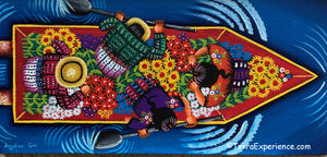 "Angelina Quic Oil Painting - Mayans in Canoe going to Flower Market - Overhead or bird-eye View (P-M-AQ-20W) 7"" x 15"