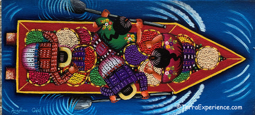 Angelina Quic Oil Painting - Mayans in Canoe going to Market - Overhead or bird-eye View (P-M-AQ-20X) 7