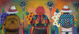 "Antonio Coche Mendoza Oil Painting - Three Mayan Confradia (P-L-ACM-16B) 12"" x 26.5"""