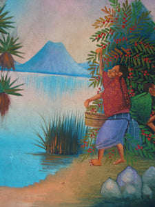 "Antonio Vasquez Yojcom Oil Painting - Coffee Harvest on Lake Atitlan  (P-M-AVY-016)  9"" x 11"""""