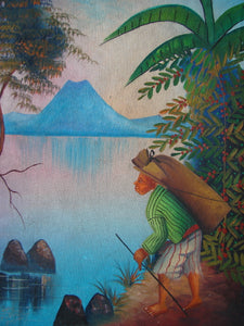 "Antonio Vasquez Yojcom Oil Painting - Coffee Harvest on Lake Atitlan  (P-M-AVY-017)  9"" x 11"""""