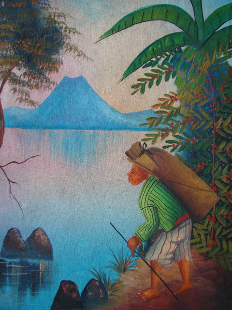 Antonio Vasquez Yojcom Oil Painting - Coffee Harvest on Lake Atitlan  (P-M-AVY-017)  9