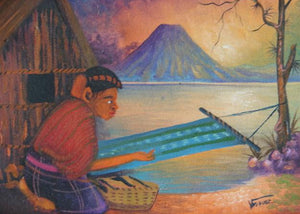 "Antonio Vasquez Yojcom Oil Painting - Mayan Woman Weaving on Lake Atitlan  (P-M-AVY-021)  6"" x 8"""""