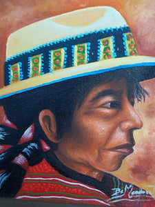 "Benjamin Mendoza Taca Large Oil Painting - Woman from Todos Santos with Hat -  (P-M-BMT-007) 9"" x 11"""