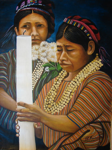 Benjamin Mendoza Tac Large Oil Painting - Woman from San Antonio Palopo with Candle -  (P-L-BMT-008) 29