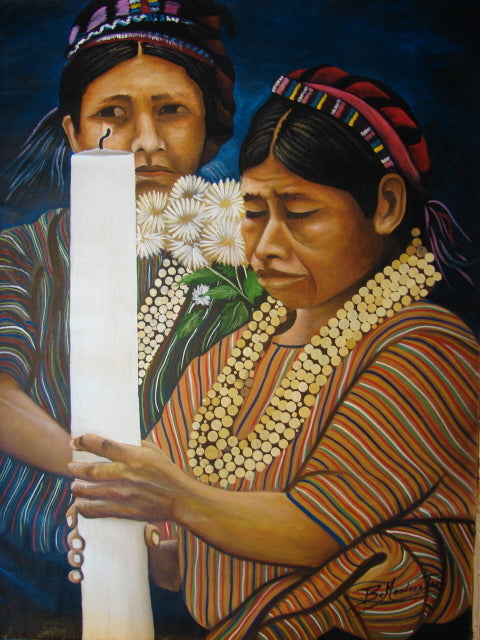 Benjamin Mendoza Taca Large Oil Painting - Woman from San Antonio Palopo with Candle -  (P-L-BMT-008) 29