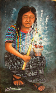 "Benjamin Mendoza Taca Large Oil Painting - Mayan Woman with Candle -  (P-L-BMT-013) 9"" x 15"""