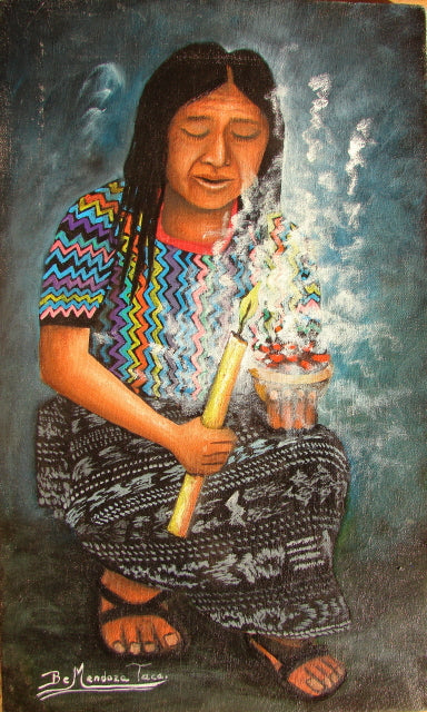 Benjamin Mendoza Taca Large Oil Painting - Mayan Woman with Candle -  (P-L-BMT-013) 9