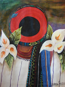 "Celeste Mendoza Large Oil Painting - Woman from Santiago Atitlan with Tocoyal -  (P-L-CMS-004) 16"" x 20"""