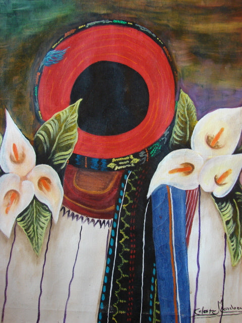 Celeste Mendoza Large Oil Painting - Woman from Santiago Atitlan with Tocoyal -  (P-L-CMS-004) 16