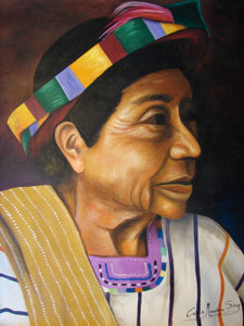 "Celeste Mendoza Large Oil Painting - Woman from Santiago Atitlan with Tocoyal -  (P-L-CMS-003) 29"" x 38"" (LARGE)"