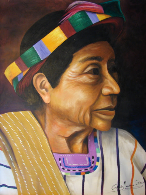 Celeste Mendoza Large Oil Painting - Woman from Santiago Atitlan with Tocoyal -  (P-L-CMS-003) 29